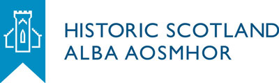 "A graphic of a banner and building in blue with the words ""Historic Scotland: Alba Aosmhor"""