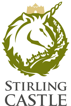 "A graphic of a unicorn head with the words ""Stirling Castle"""