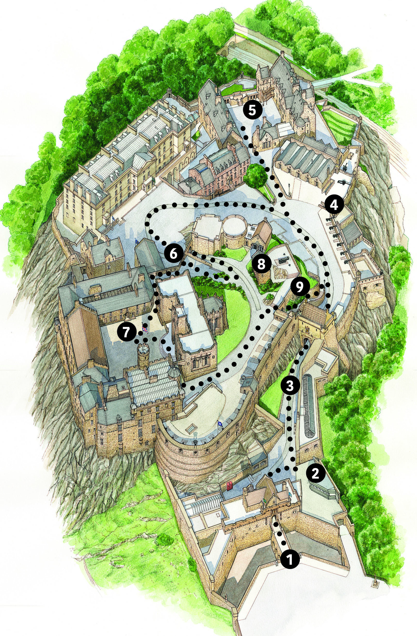 Image of one-way numbered route map for Edinburgh Castle